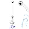 its a boy zwangerschap piercing